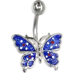 Blue Glitter Red Flower Chromatic Butterfly Belly Ring Jewelry