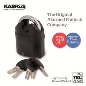 Kabrus High Security Alarm Padlock / Heavy Duty Alarmed Lock for High