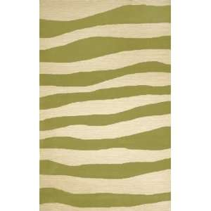 Indoor/Outdoor Hand Tufted Area Rug Wavey Stripe 2 x 3 Sage Carpet