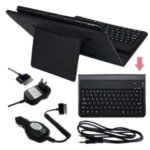 Premium Black Leather Case With Bluetooth Keyboard + 3.5MM