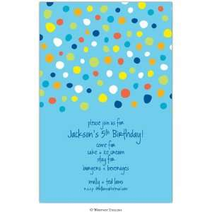 Childrens Birthday Party Invitations   Blue Carter Dot