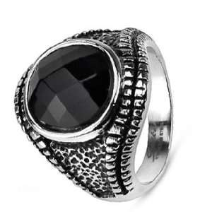 Stainless Steel Biker Ring With Black Stone In Center For Men Jewelry