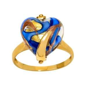 10k Yellow Gold Blue Murano Glass Heart Ring, Size 7 Jewelry