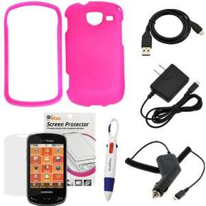 GTMax Hot Pink Rubberized Snap On Case + Clear LCD Screen