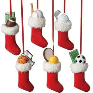 of 12 Sports Ball in Stocking Christmas Tree Ornaments