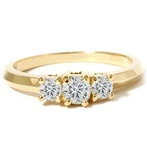 .50CT 3 STONE DIAMOND YELLOW GOLD ROUND ENGAGEMENT RING