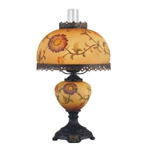 Table Lamp, Dark Bronze with 9 Inch High Painted Glass Tiffany Shade