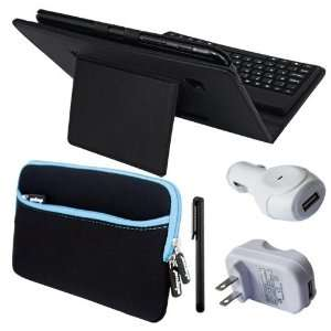 com Premium Black Leather Case With Bluetooth Keyboard + Black Touch