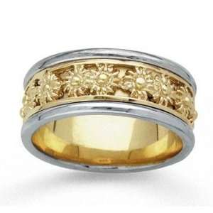 14k Two Tone Gold Sunburst Hand Carved Wedding Band Jewelry