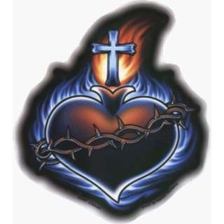 Flaming Sacred Heart with Cross   Sticker / Decal