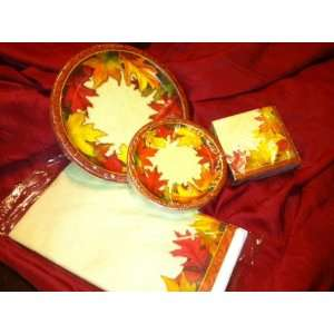 Autumn Traditions Thanksgiving Falling Leaves ~ Plate, Napkins