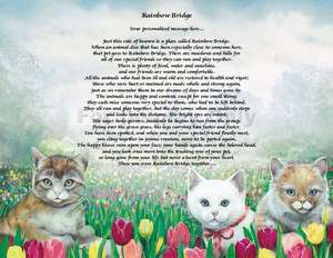 Personalized Cat Memorial Rainbow Bridge Poem Loss Of Pet Animal
