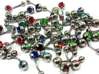 Lot of 50 316L Steel Double Gem Navel Rings belly 14g