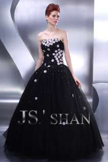 JSSHAN Black Formal Prom Ball Gown Party Evening Dress