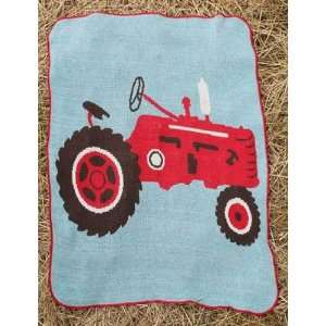 Red Farm Tractor Jr Throw Blanket Baby
