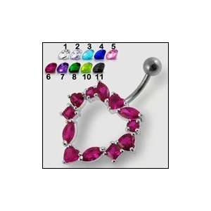Selective Jeweled Heart Belly Ring Body Jewelry Jewelry